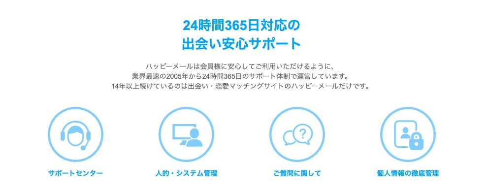 24時間365日対応の 出会い安心サポート ハッピーメールは会員様に安心してご利用いただけるように、 業界最速の2005年から24時間365日のサポート体制で運営しています。 14年以上続けているのは出会い・恋愛マッチングサイトのハッピーメールだけです。